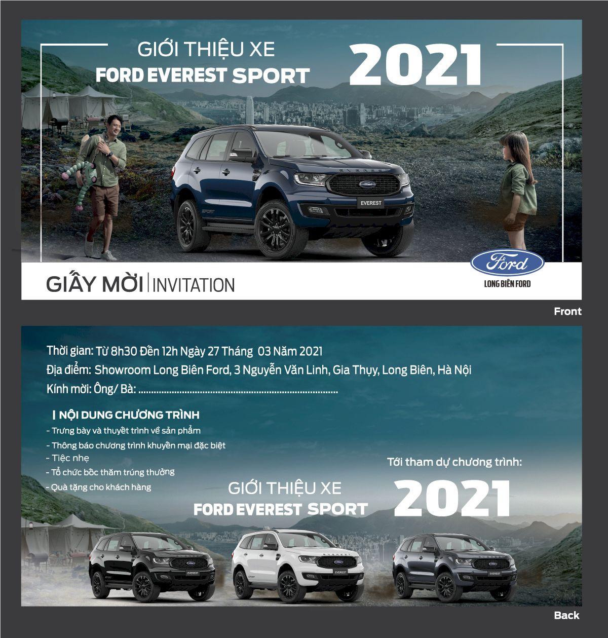 """Thư mời tham sự kiện """"Giới thiệu Ford Everest Sport 2021"""""""