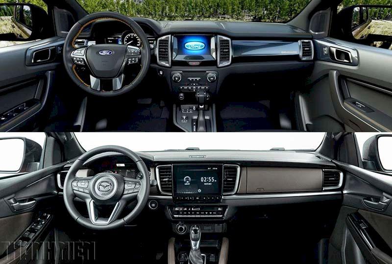 Không gian, trang bị nội thất Ford ranger và mazda bt 50
